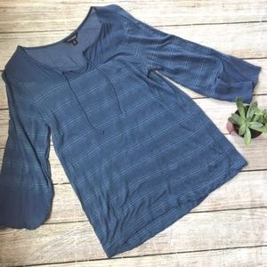 {Lucky Brand} Casual Striped Tee 3/4 length